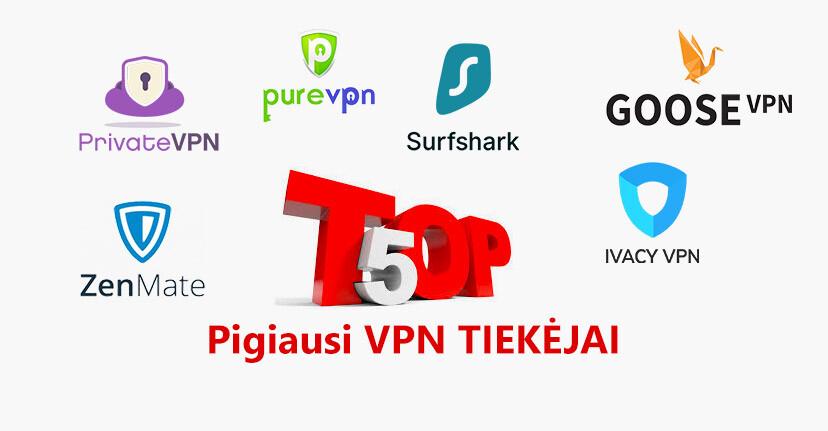 TOP 5 pigiausi VPN tiekėjai