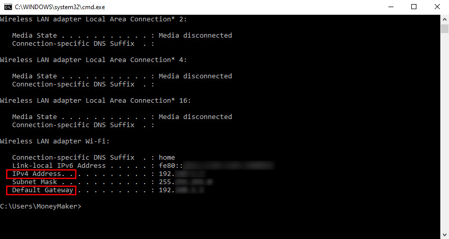 Windows kompiuterio IP adresas