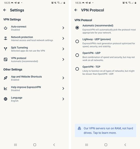 ExpressVPN Android nustatymai
