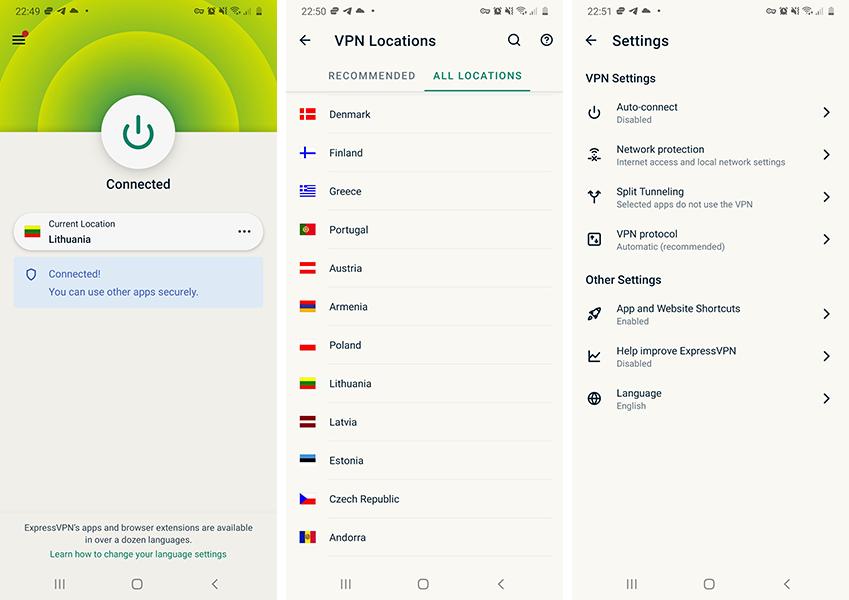ExpressVPN android programėlė