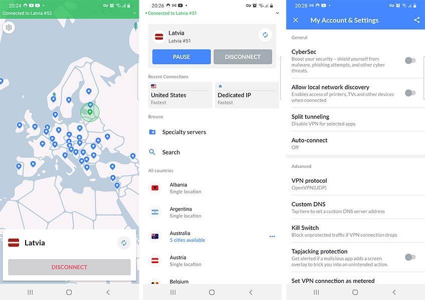 NordVPN Android programa